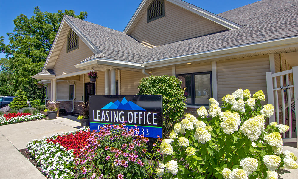 Outside the leasing office at The Summit at Ridgewood  in Fort Wayne, IN