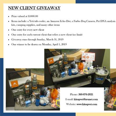 New Client Give Away at Kitsap Veterinary Hospital in Port Orchard, Washington