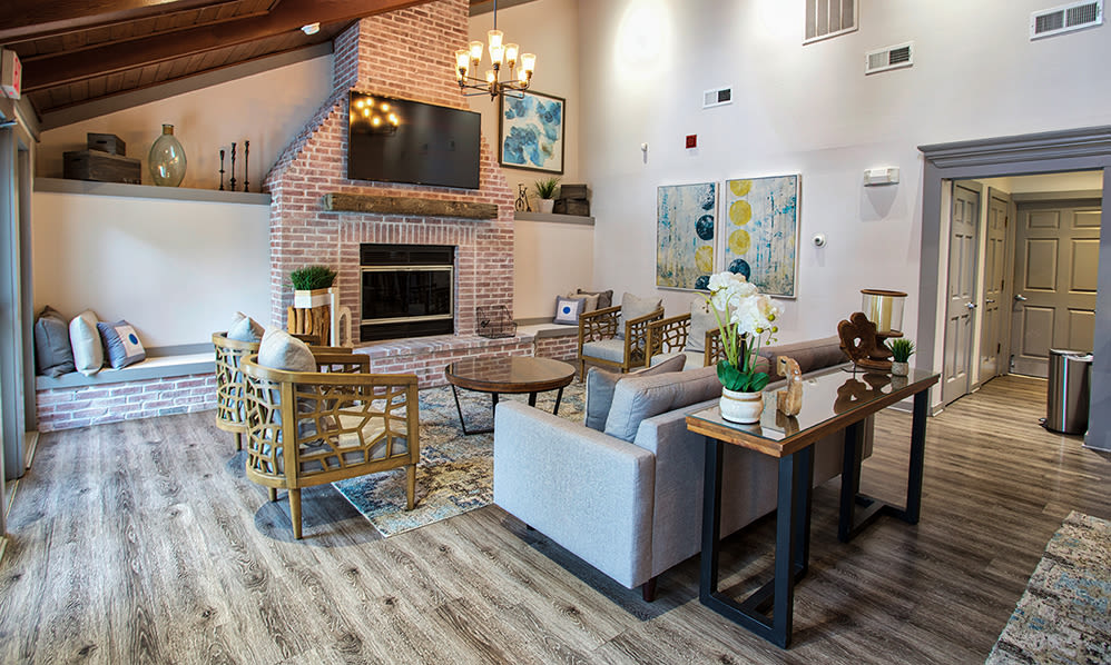 Beautiful clubhouse seating area at apartments in Westlake, Ohio