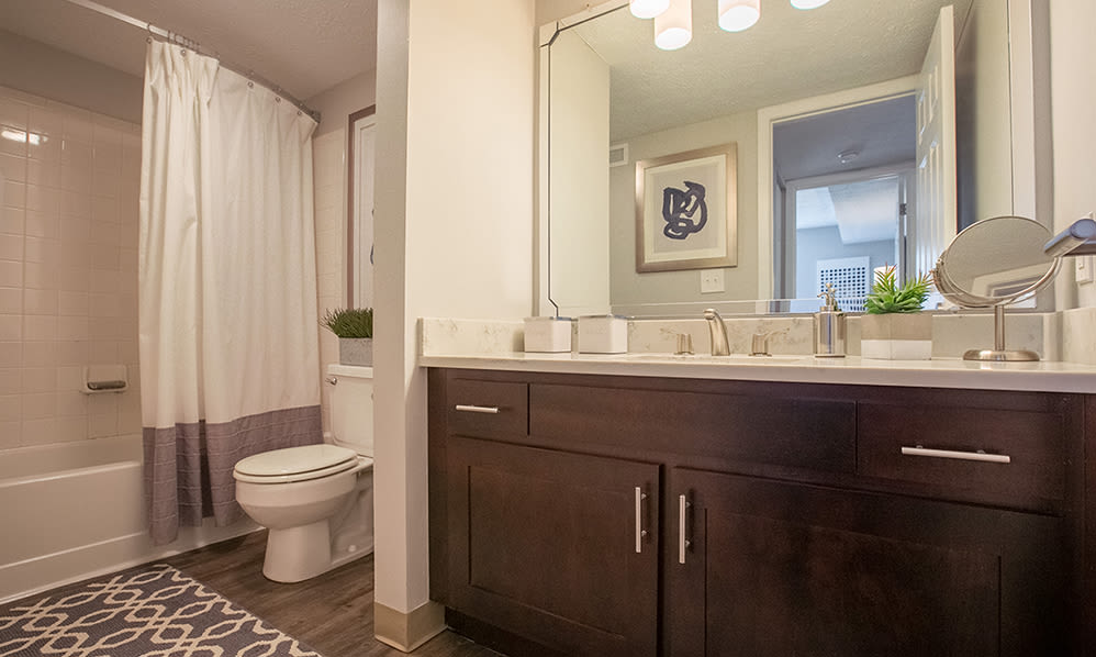 Modern bathroom at Hunter's Chase Apartments in Westlake, Ohio