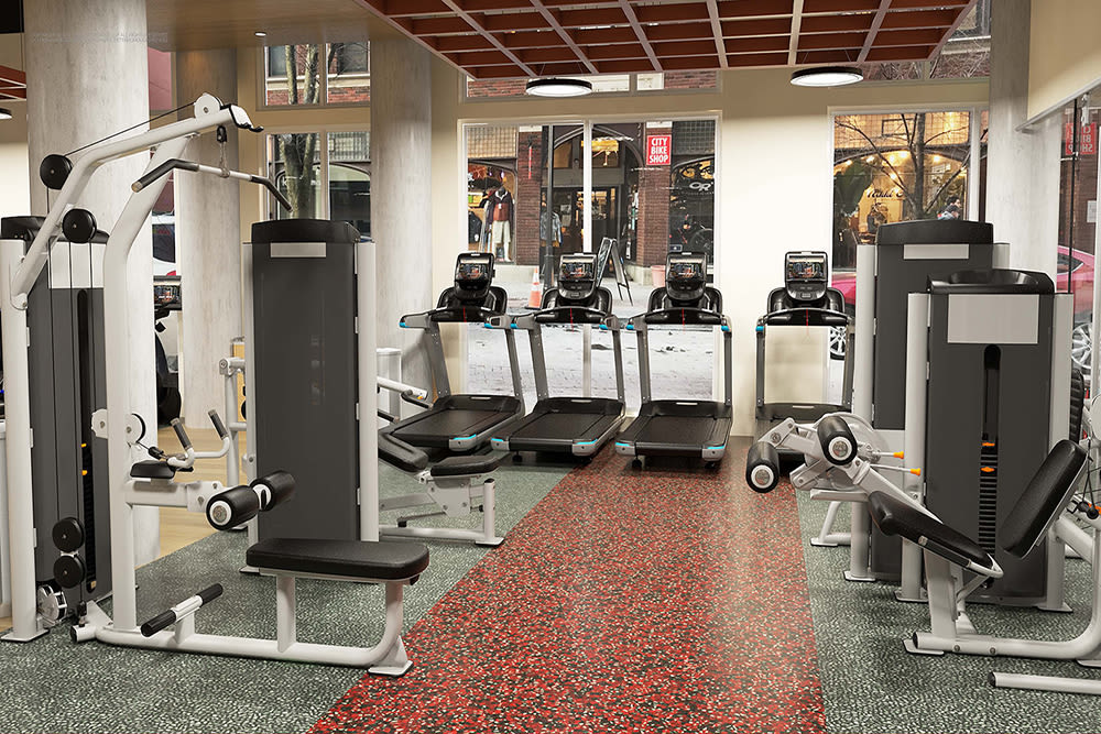 State-of-the-art fitness center at apartments in Ithaca, New York