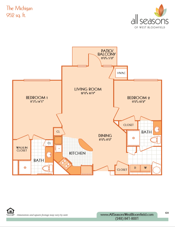 The Michigan floor plan at All Seasons of West Bloomfield in West Bloomfield, Michigan