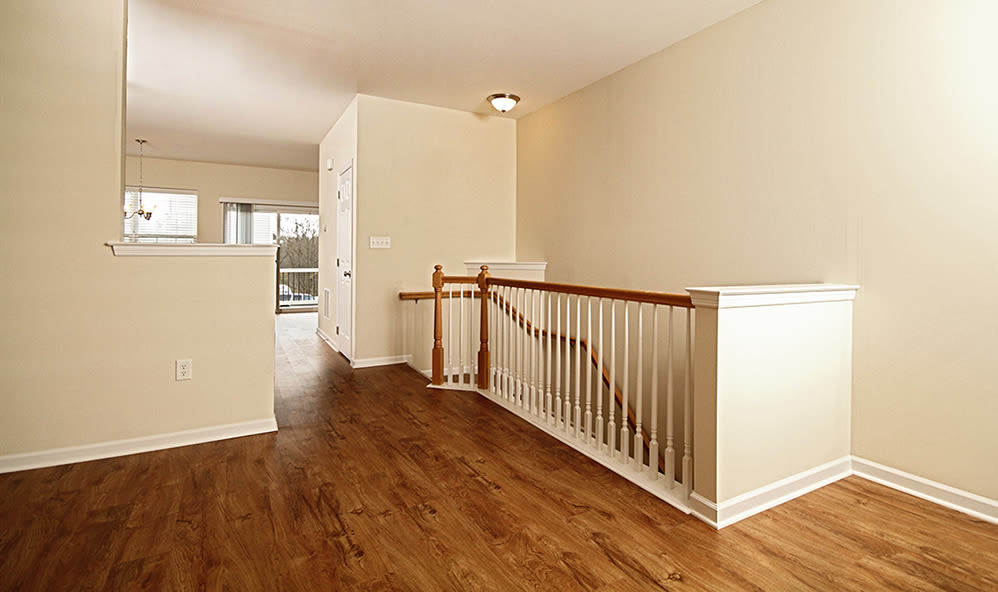 Staircase in apartment at Emerald Pointe Townhomes in Harrisburg, Pennsylvania