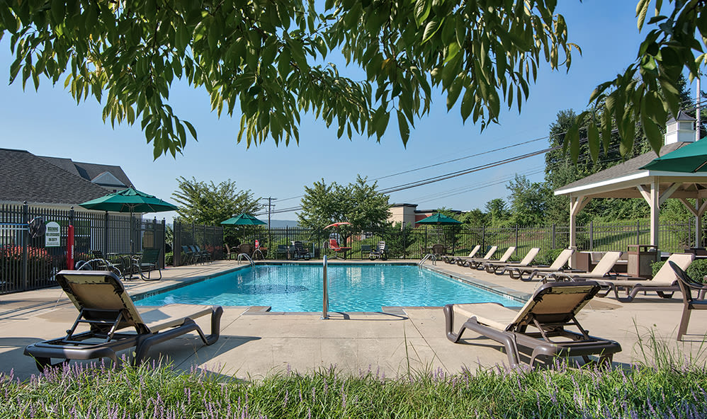 Beautiful swimming pool at Emerald Pointe Townhomes in Harrisburg, Pennsylvania