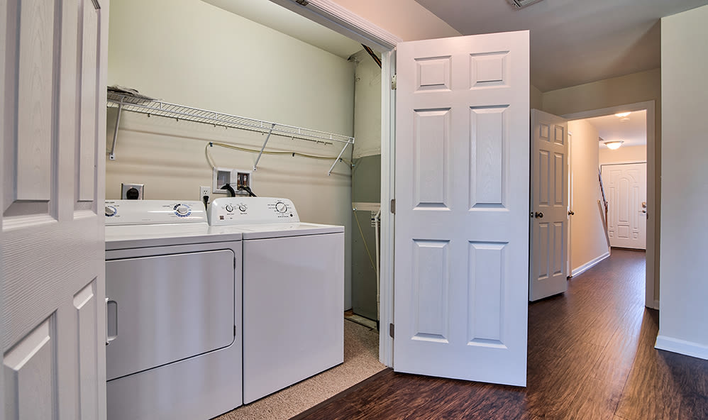 In-home washer and dryer at Emerald Pointe Townhomes in Harrisburg, Pennsylvania