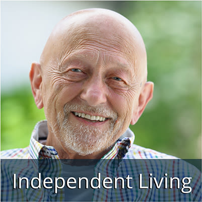 Happy Independent Living Resident at Flagstone Senior Living.