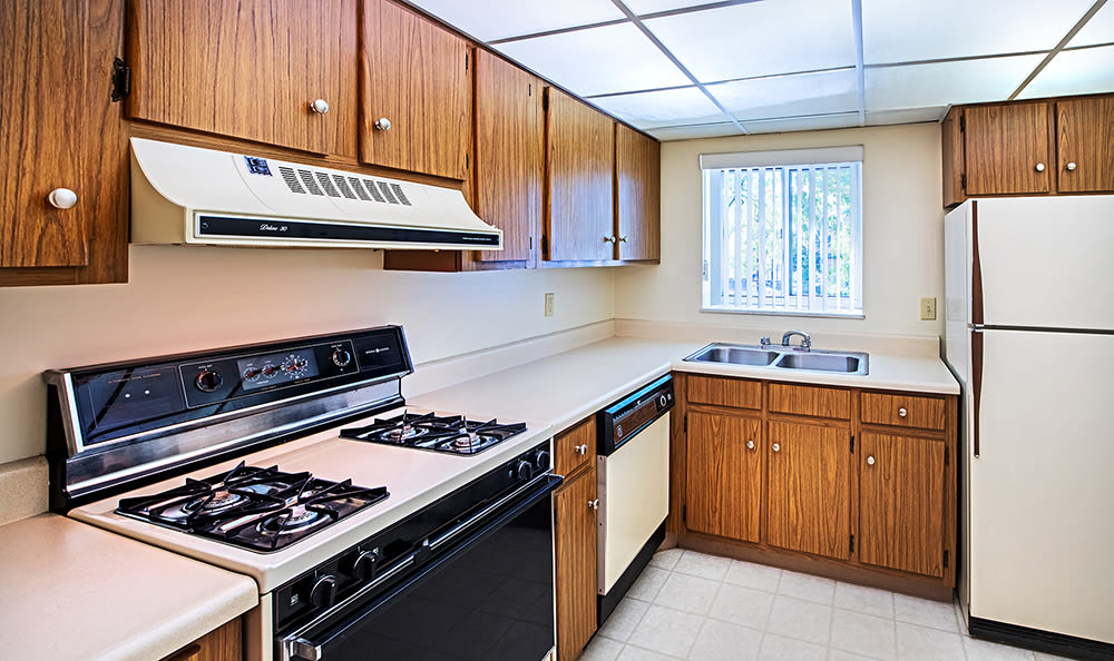 Full-equipped kitchen at Avalon Arms Apartments in Avalon