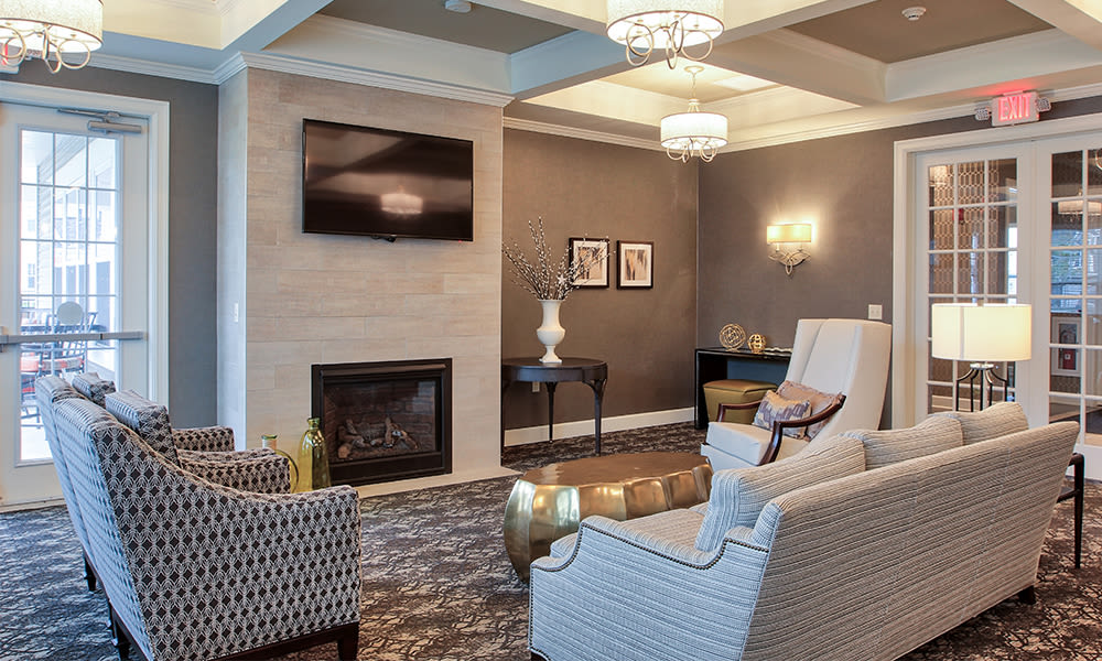 A clubhouse that is great for entertaining at Union Square Apartments in North Chili, New York