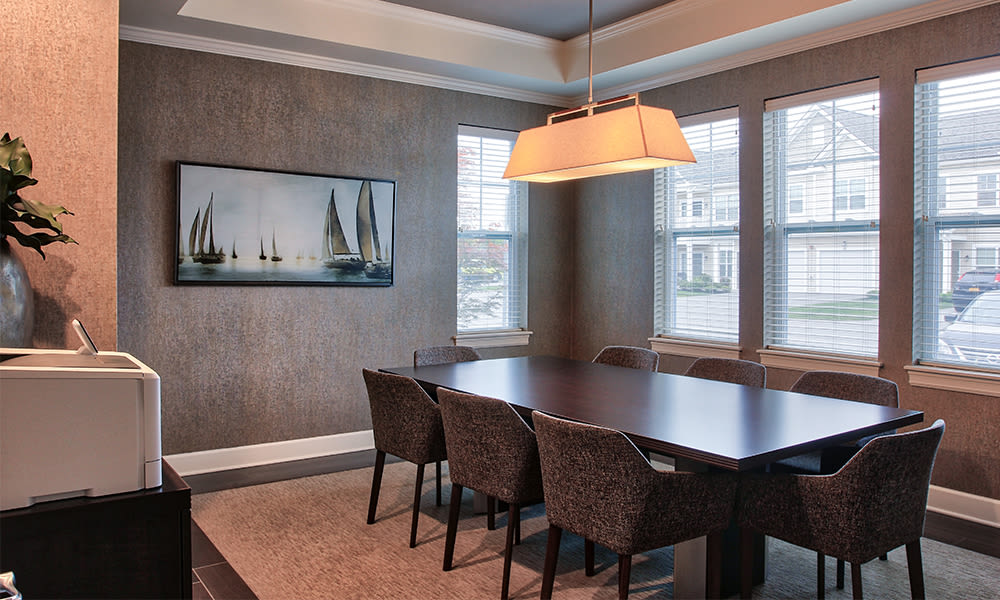 Conference room at Union Square Apartments in North Chili, New York