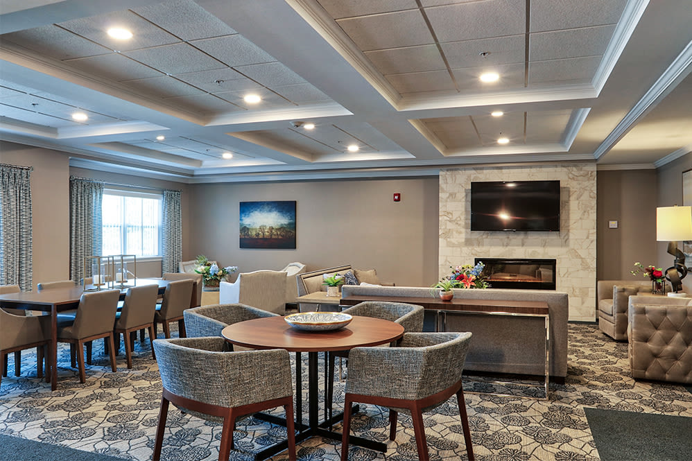 A clubhouse that is great for entertaining at Villa Capri Senior Apartments in Rochester, New York