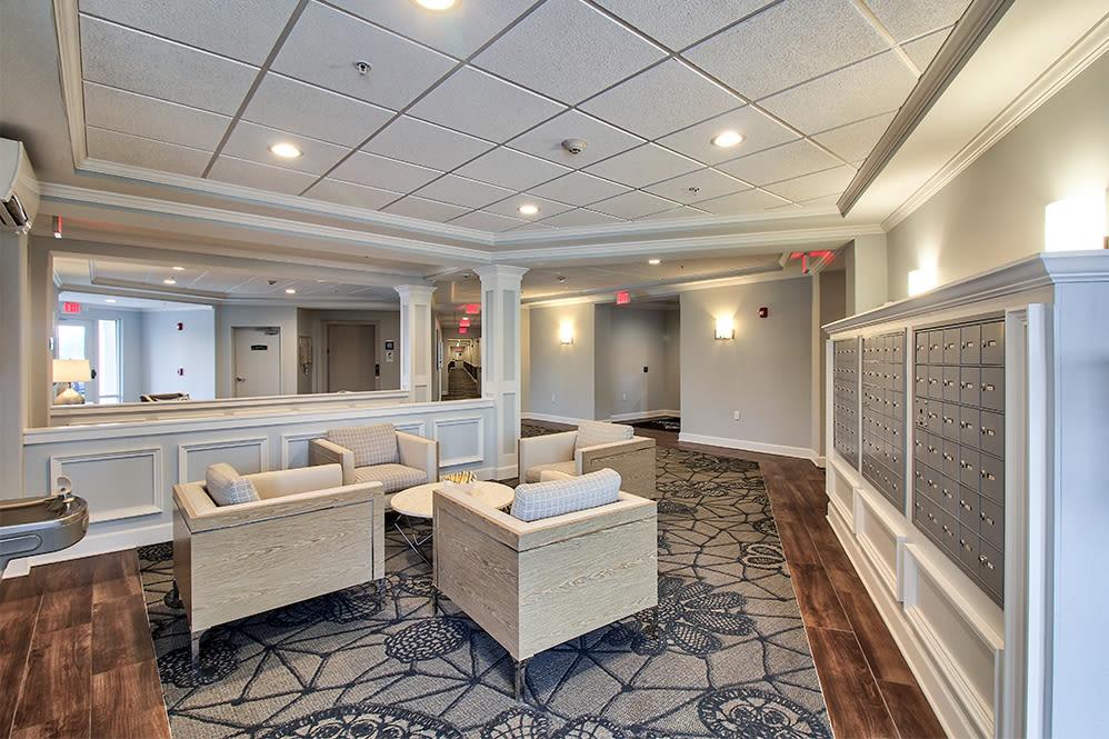 Beautiful lobby at Villa Capri Senior Apartments in Rochester, New York