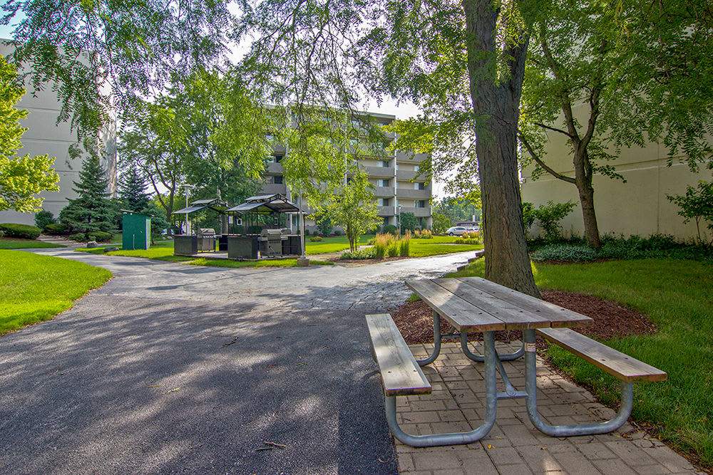 Picnic and grilling area at apartments in Richton Park, Illinois