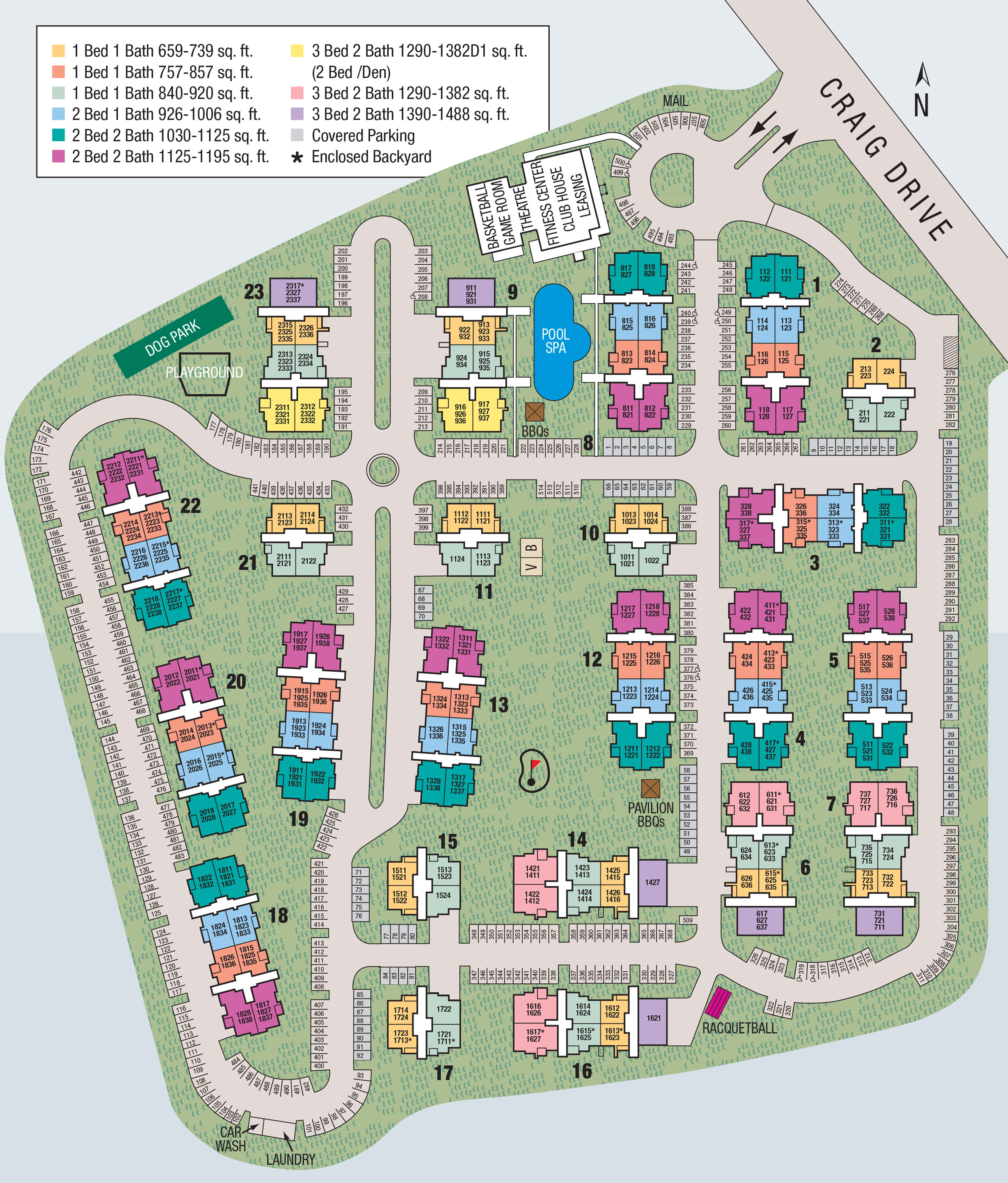 Site map of El Lago Apartments in McKinney, TX