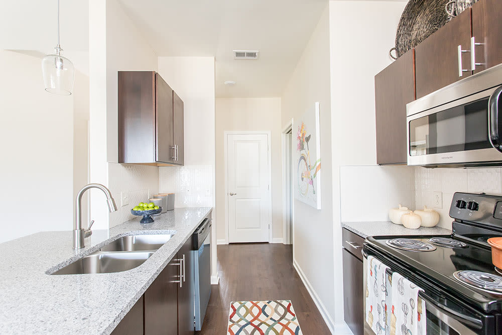 Modern kitchen at Orchard View Senior Apartments home