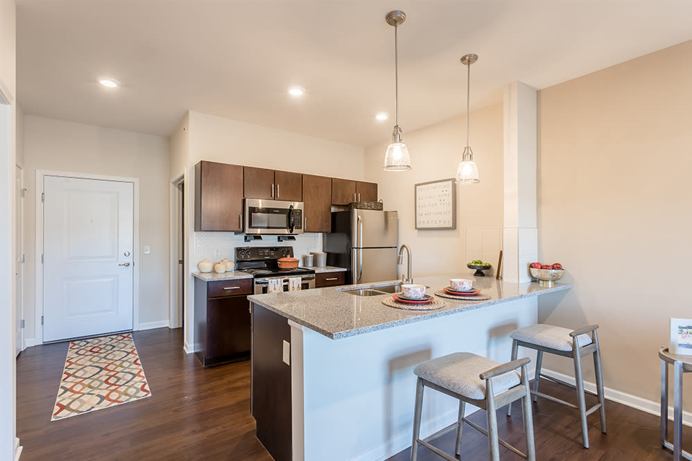 Renovated kitchen at Orchard View Senior Apartments in Rochester, New York