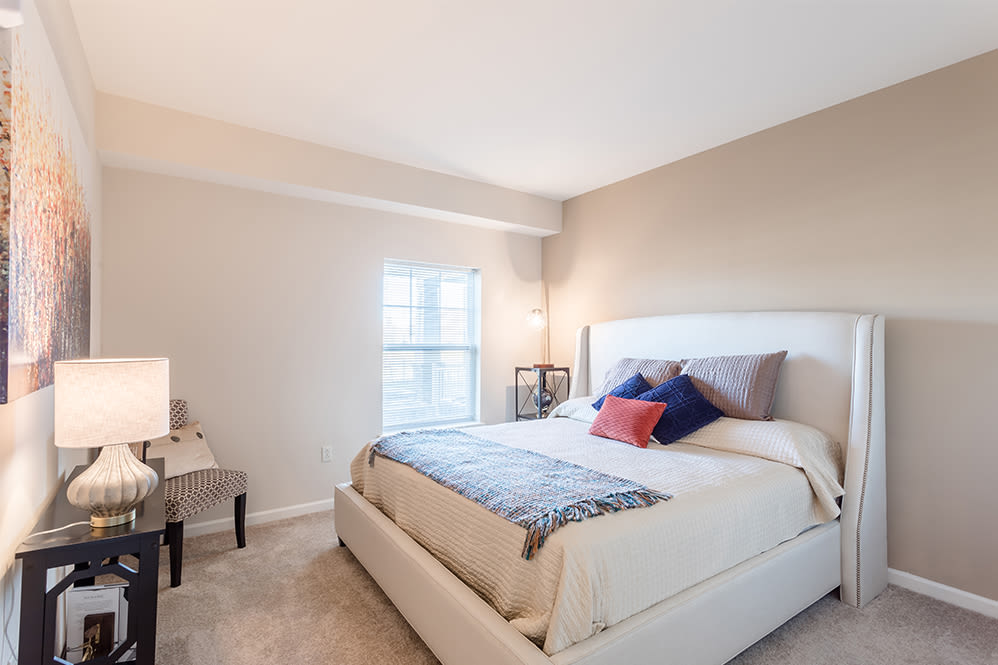 Enjoy a luxury bedroom at Orchard View Senior Apartments