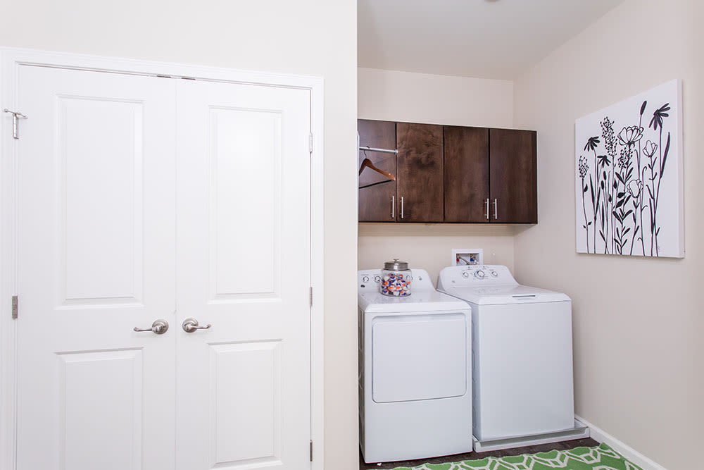 Washer and dryer at Orchard View Senior Apartments home