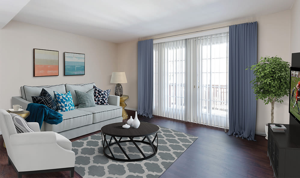 Raintree Island Apartments with a luxury living room in Tonawanda
