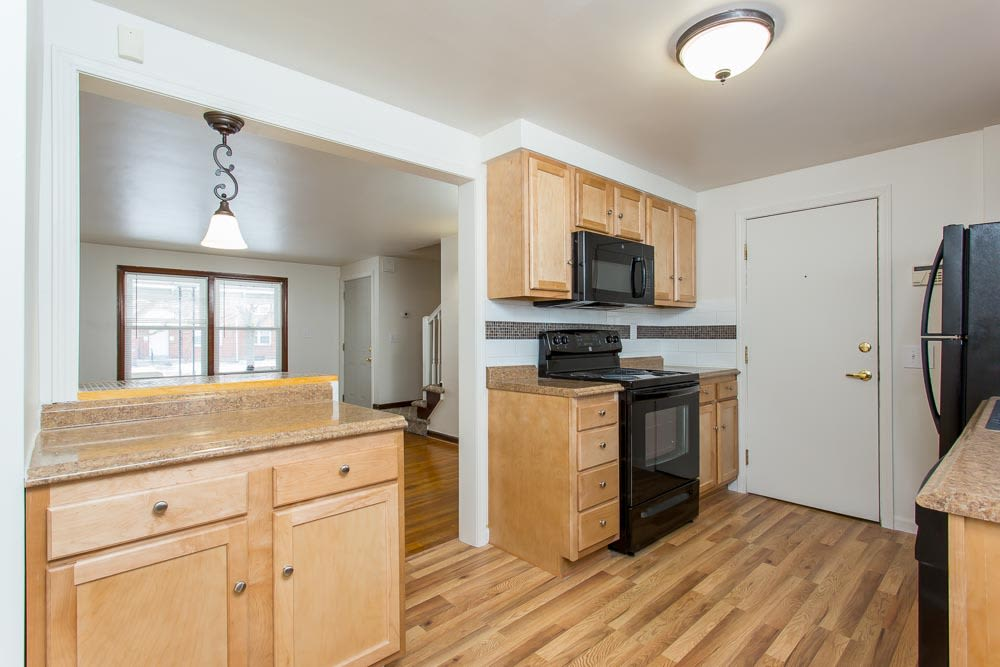 Hardwood floors in apartments at Park Place Townhomes