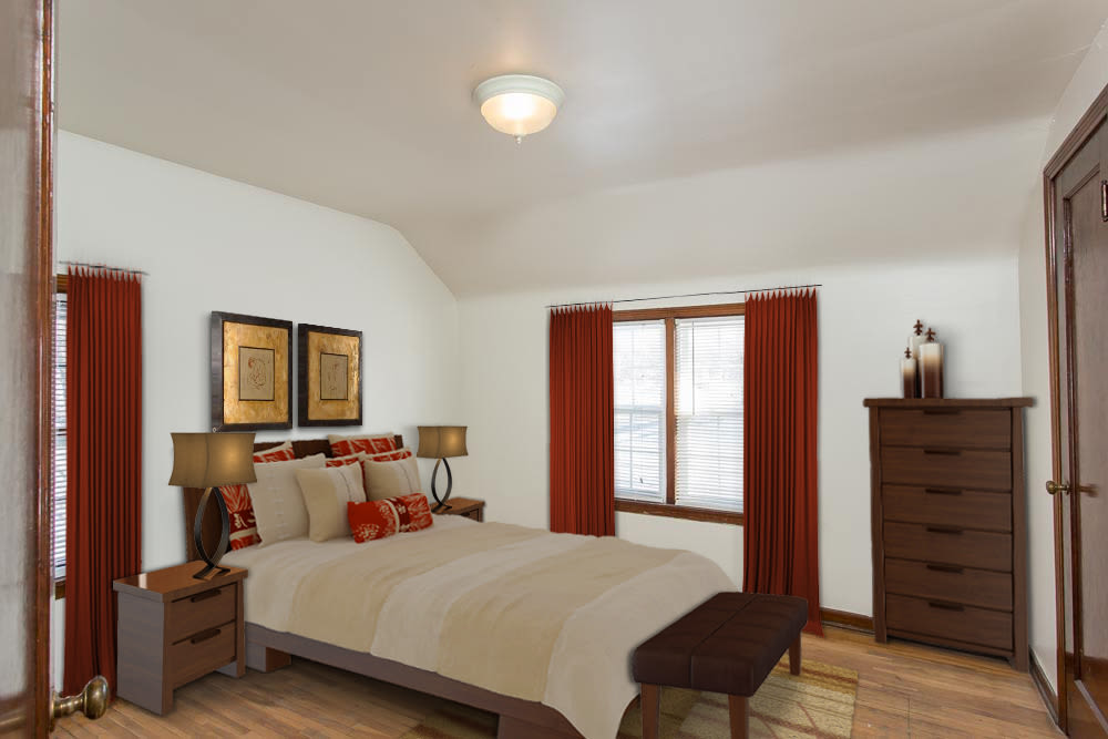 Bedroom in apartments at Park Place Townhomes