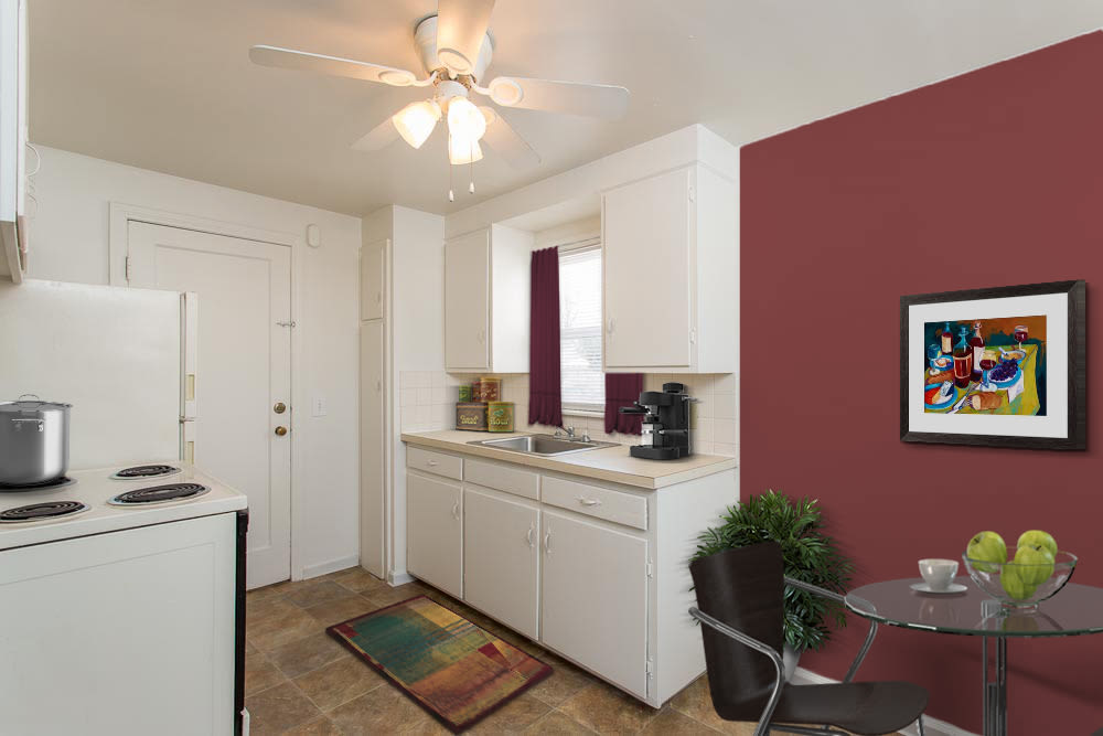 Kitchen in apartments at Park Place Townhomes