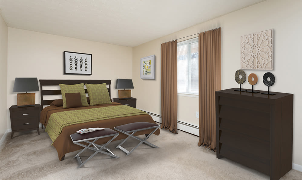 Beautifully designed bedroom at Willowbrooke Apartments and Townhomes home in Brockport, New York