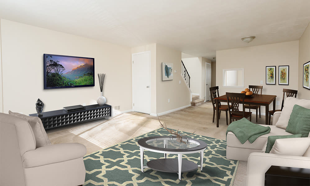 Willowbrooke Apartments and Townhomes offers a luxury living room in Brockport, NY