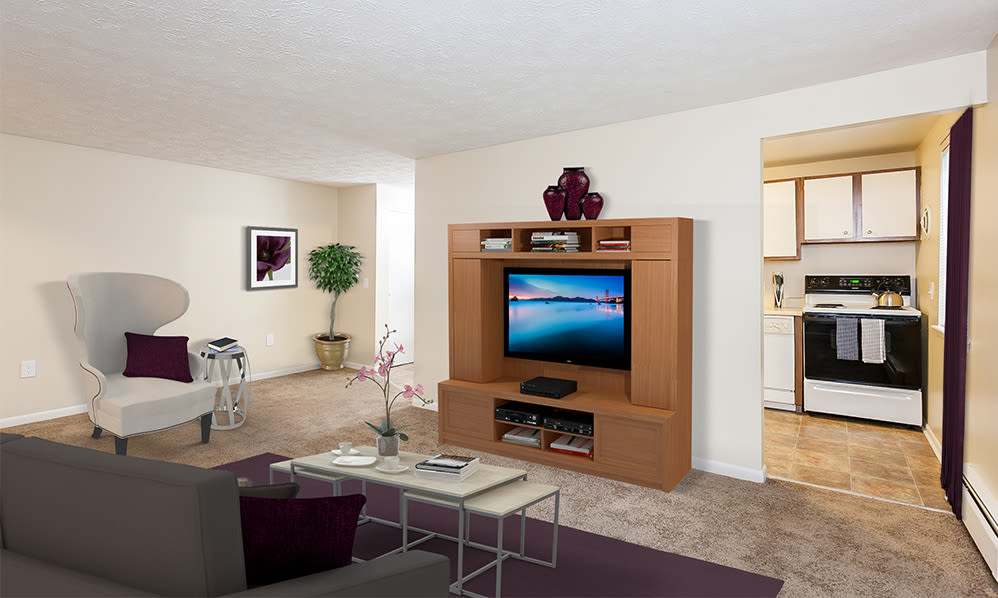 Willowbrooke Apartments and Townhomes with a cozy living room in Brockport