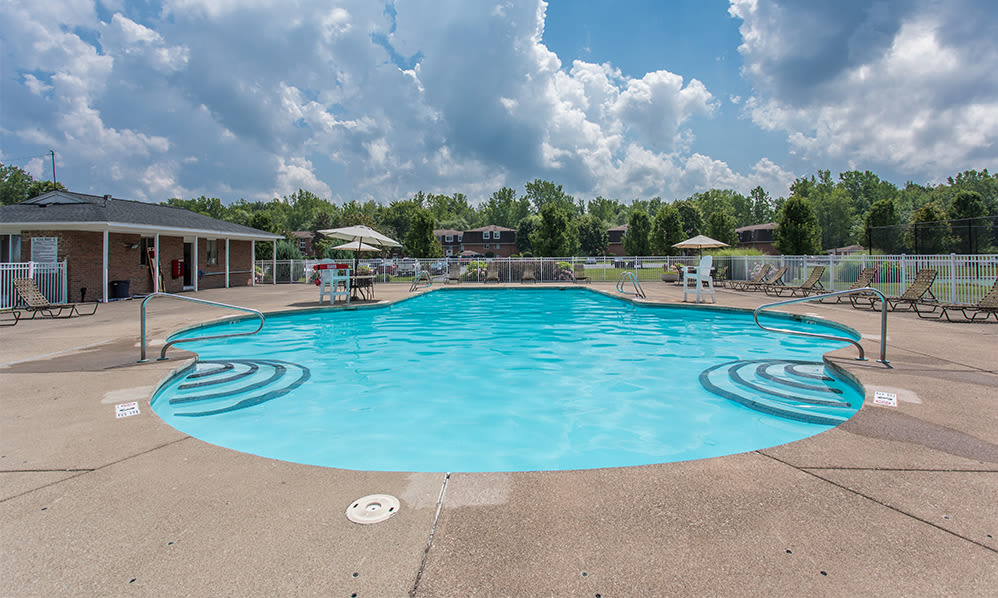 Spacious swimming pool at Willowbrooke Apartments and Townhomes in Brockport, New York