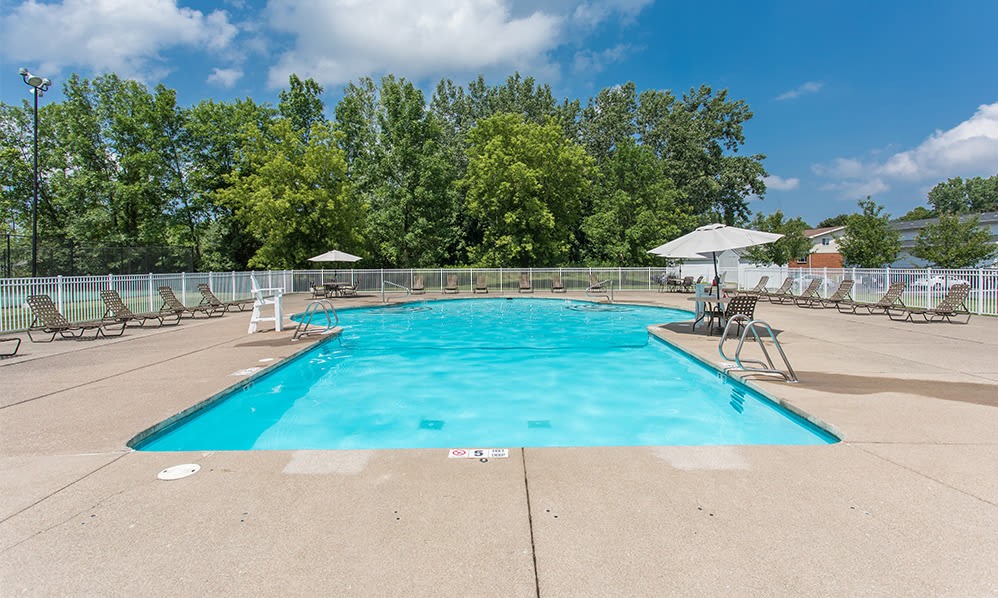 Beautiful swimming pool at apartments & townhomes in Brockport, New York