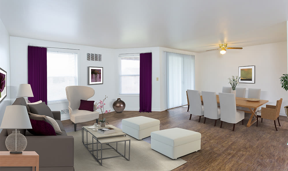 Spacious living room at Riverton Knolls home in West Henrietta, NY