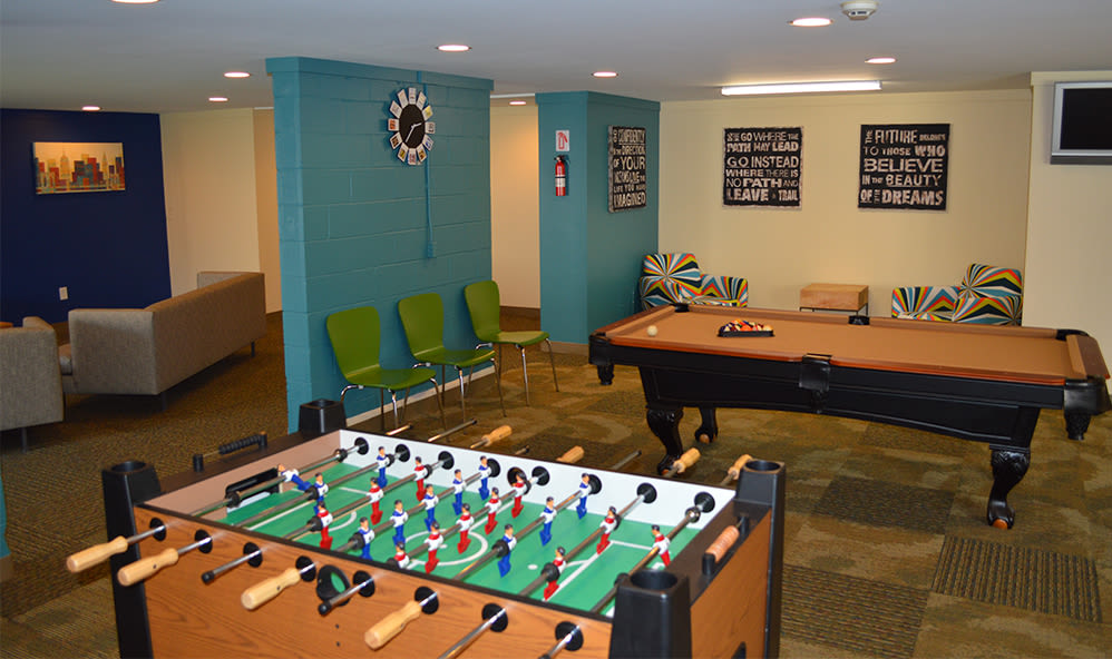 Clubhouse recreation room at Riverton Knolls in West Henrietta, New York