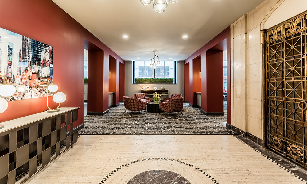 Beautiful lobby at The Linc in Rochester, New York