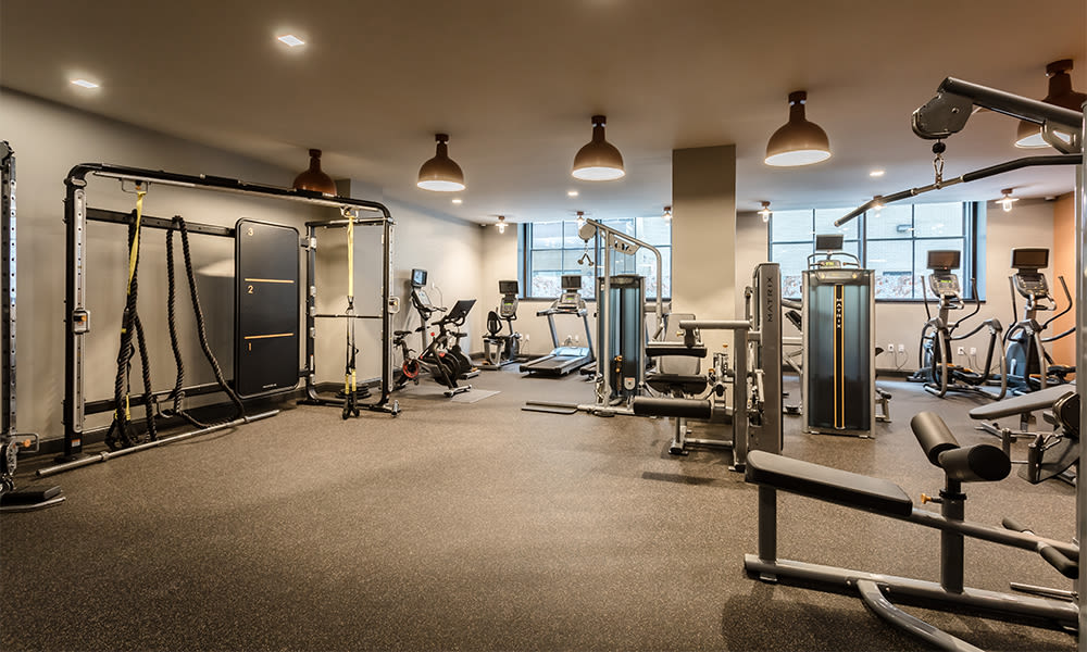 Enjoy apartments with a state-of-the-art fitness center at The Linc