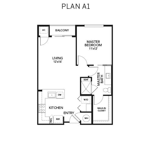 1 bedroom A1 floor plan at Avenida Naperville senior living apartments in Naperville, Illinois