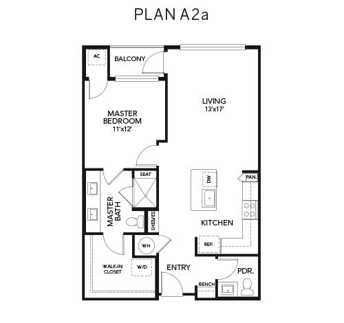 1 bedroom A2a floor plan at Avenida Naperville senior living apartments in Naperville, Illinois