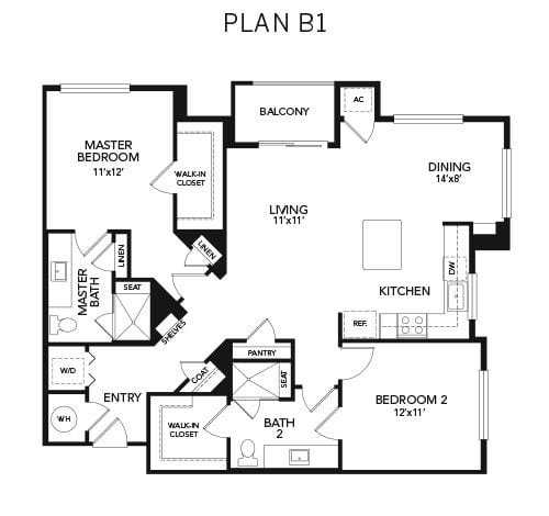 2 bedroom B1 floor plan at Avenida Naperville senior living apartments in Naperville, Illinois