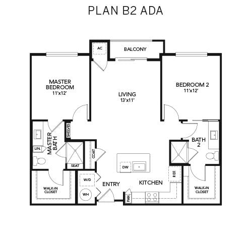 2 bedroom B2 ADA floor plan at Avenida Naperville senior living apartments in Naperville, Illinois
