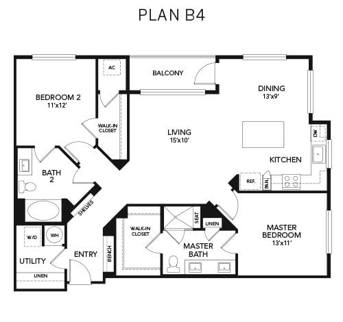 2 bedroom B4 floor plan at Avenida Naperville senior living apartments in Naperville, Illinois