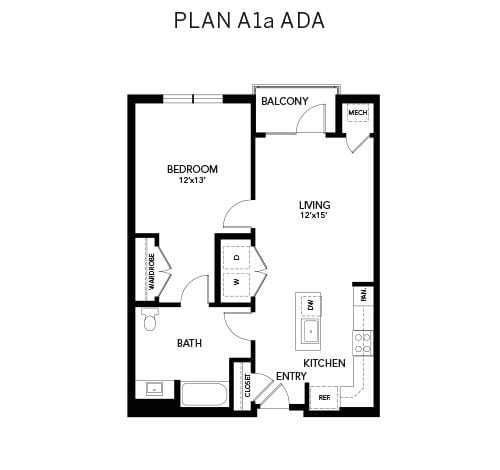 1 bedroom A1a ADA: 806 sq. ft. floor plan at Avenida Watermarq at Germantown senior living apartments in Germantown, Tennessee