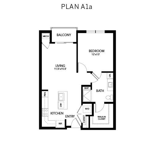 1 bedroom & 1 bathroom A1: 782 sq. ft. floor plan at Avenida Watermarq at Germantown senior living apartments in Germantown, Tennessee