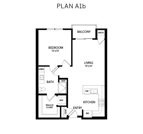 1 bedroom & 1 bathroom A1b: 782 sq. ft. floor plan at Avenida Watermarq at Germantown senior living apartments in Germantown, Tennessee