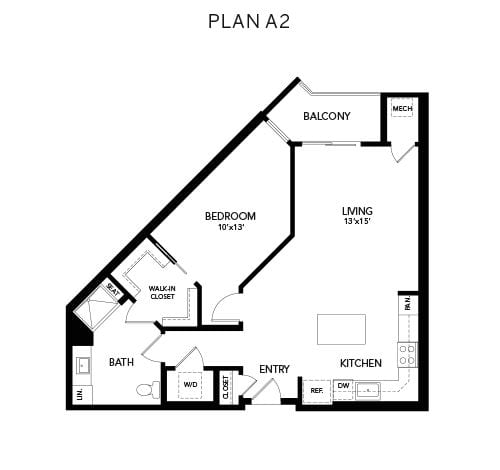1 bedroom & 1 bathroom A2: 905 sq. ft. floor plan at Avenida Watermarq at Germantown senior living apartments in Germantown, Tennessee