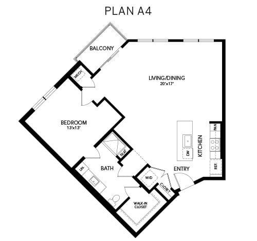 1 bedroom & 1 bathroom A4: 996 sq. ft. floor plan at Avenida Watermarq at Germantown senior living apartments in Germantown, Tennessee
