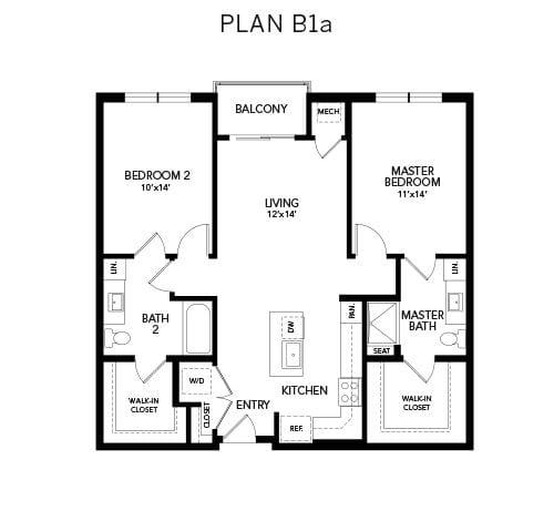 2 bedroom & 2 bathroom B1a: 1092 sq. ft. floor plan at Avenida Watermarq at Germantown senior living apartments in Germantown, Tennessee