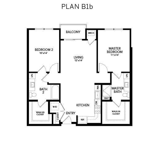 2 bedroom & 2 bathroom B1b: 1092 sq. ft. floor plan at Avenida Watermarq at Germantown senior living apartments in Germantown, Tennessee