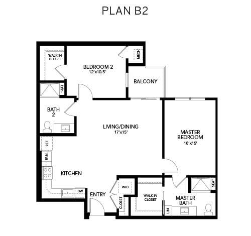 2 bedroom & 2 bathroom B2: 1106 sq. ft. floor plan at Avenida Watermarq at Germantown senior living apartments in Germantown, Tennessee