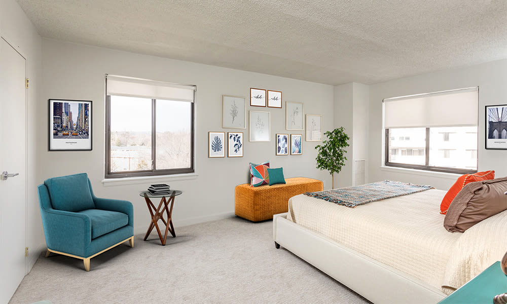 Cozy bedroom at apartments in Rochester, New York