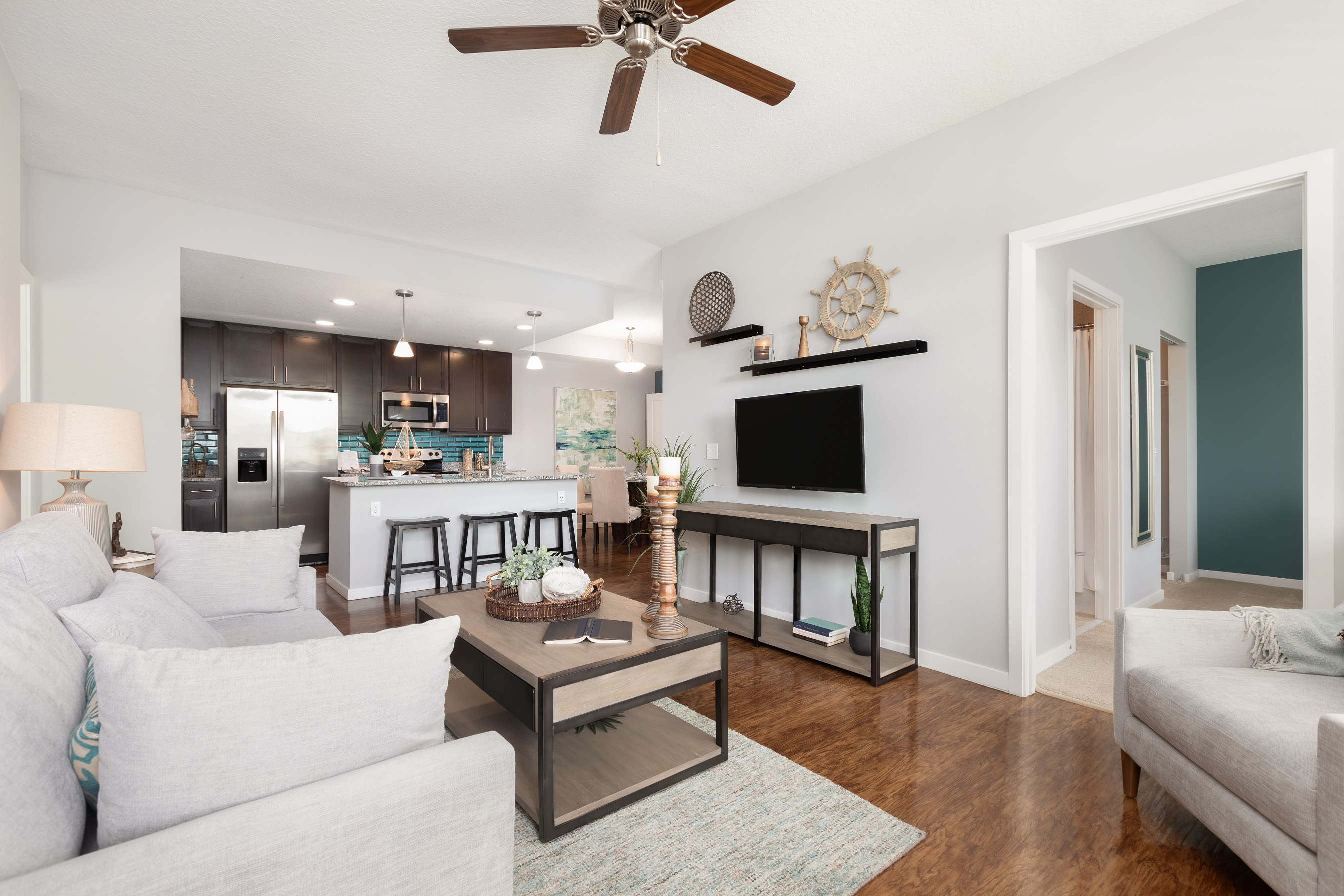 Open concept layout with hardwood floors at High Ridge Landing in Boynton Beach, Florida