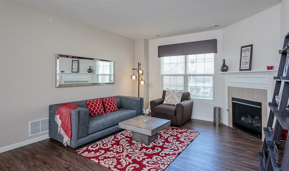 Luxury living room at Auburn Creek Apartments home